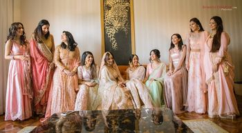Coordinated bridesmaids in pastels