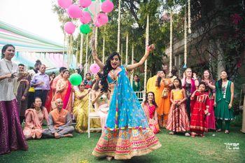 Happy bride shot in outdoor mehendi