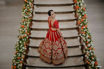 Bride in red lehenga