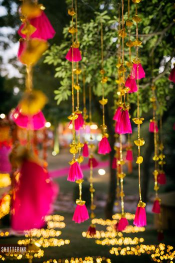 Photo of Mehendi hanging decor with gota tassel strings