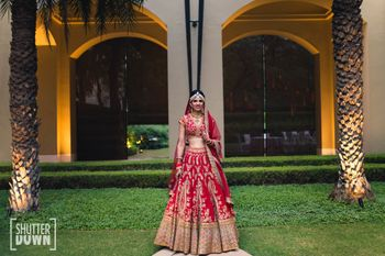 Photo of Classic bridal portrait bride in red lehenga