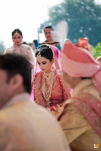 Pink bridal portrait