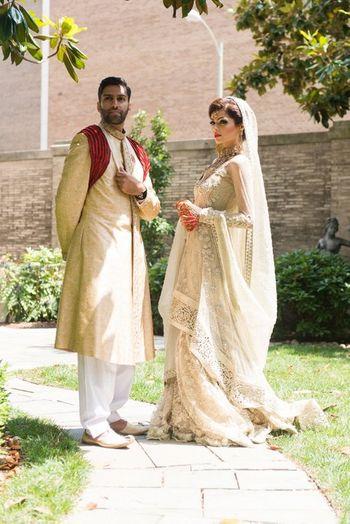cream sharara for nikah ceremony