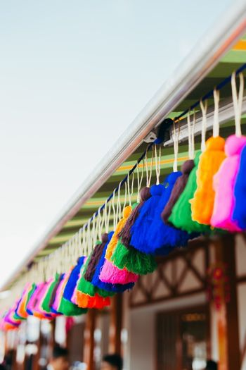Hanging colourful tassels