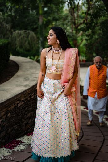 White sequin work lehenga with scalloped dupatta
