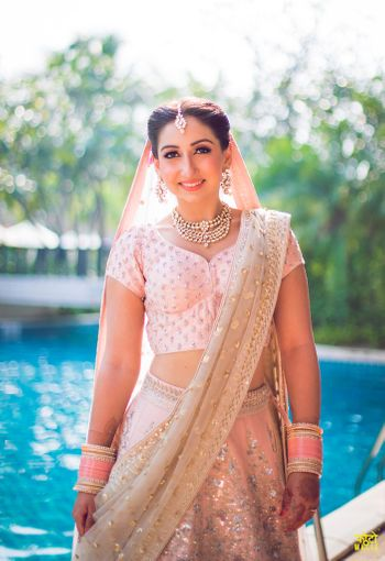 Light pink and green lehenga for morning bride