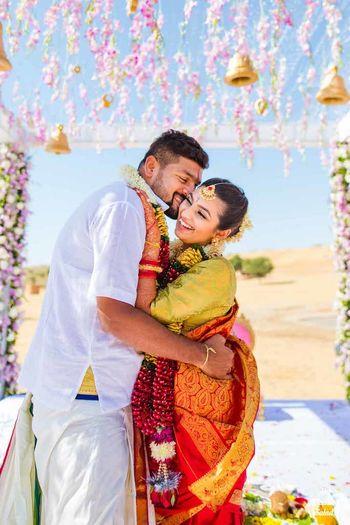 Cute South Indian couple portrait shot