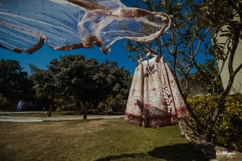 Photo of bridal lehenga and dupatta in white on hanger on a tree