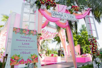 Pink theme entrance decor with personal elements