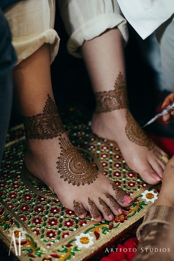 Unique feet mehendi mandala design