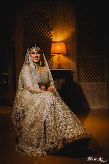 Photo of Shimmery silver bridal lehenga