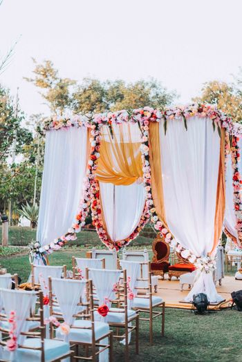 simple pink and white mandap for an intimate wedding