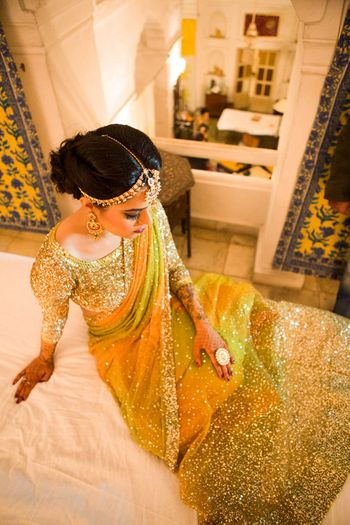 yellow and green sangeet lehenga