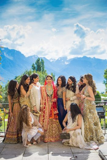 Photo of Bride with bridesmaids in Switzerland wedding