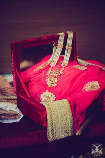 Photo of bridal pitara of jewellery and outfits