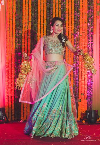 Photo of Turquoise silk lehenga by Anushree Reddy