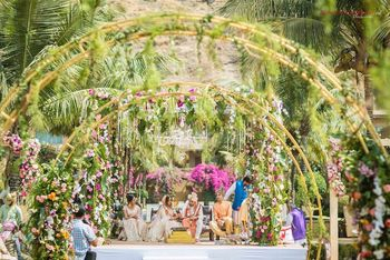 Unique botanical mandap with florals