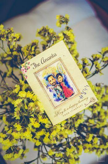 Caricature wedding card for destination wedding