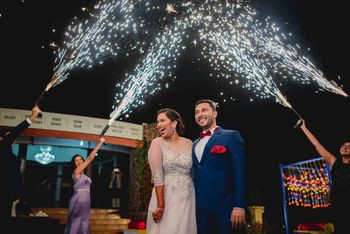 Photo of Cold pyros on bride and groom entry