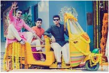 Photo of auto rickshaw prop for photobooth