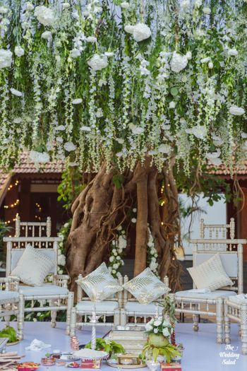 Photo of White floral mandap decor.
