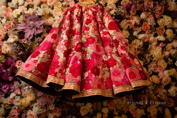 Photo of Embroidered sabyasachi lehenga on hanger