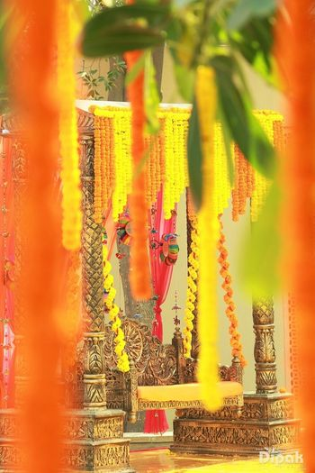 Jhoola Decorated with Genda Phool for Mehendi