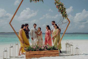 beach mehendi decor idea with photobooth