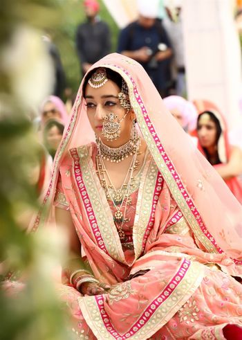 Sikh bride in pastel pink sharara with  large nosering