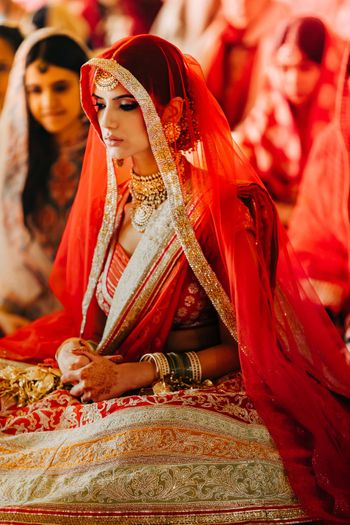 Bridal portrait clicked during Anand Karaj