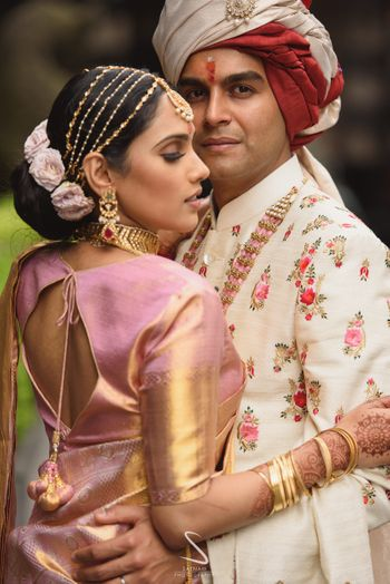 south indian couple portrait with bridal hair jewellery
