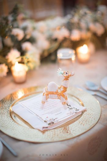 Unique favour ideas for guests with gift on table