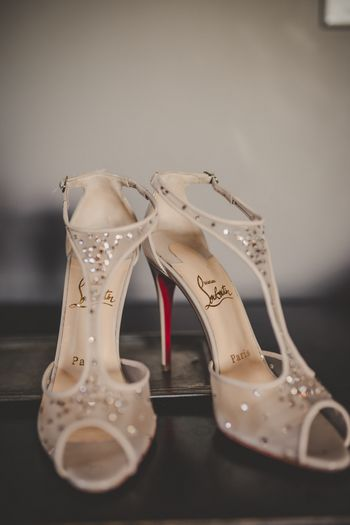 Louboutin bridal heels in white and gold