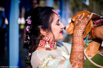 Photo of Bridal mehendi portrait with her dog