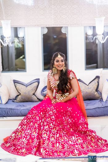 Pink mirror work funky lehenga on mehendi