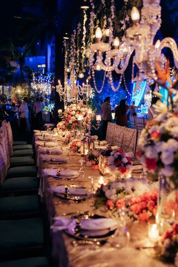 Photo of Long table dinner setting for wedding