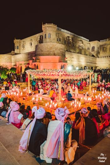 grand gold mandap idea for a fort wedding