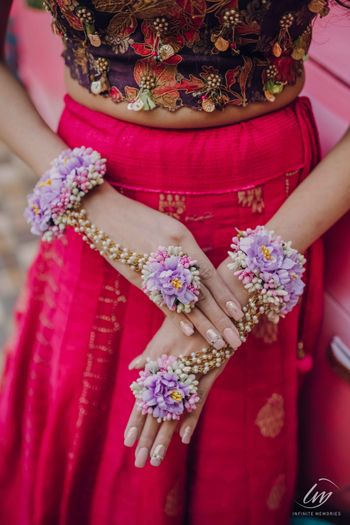 Photo of lavender pearl and floral haathphool for mehendi