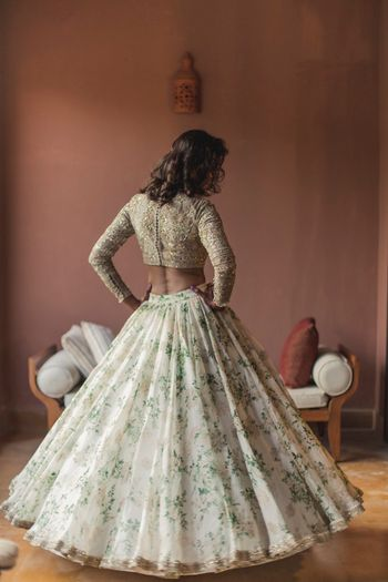 Sabyasachi floral print lehenga for engagement