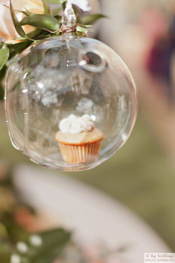 Photo of Cupcake in glass orb decor idea for wedding
