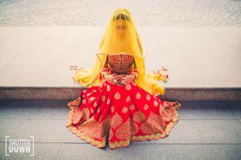 Red and yellow bridal lehenga