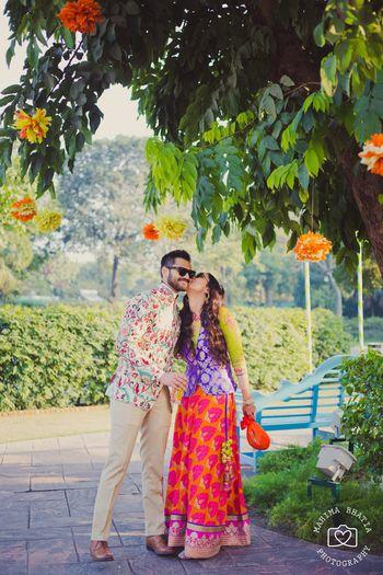 Photo of floral printed bandhgala