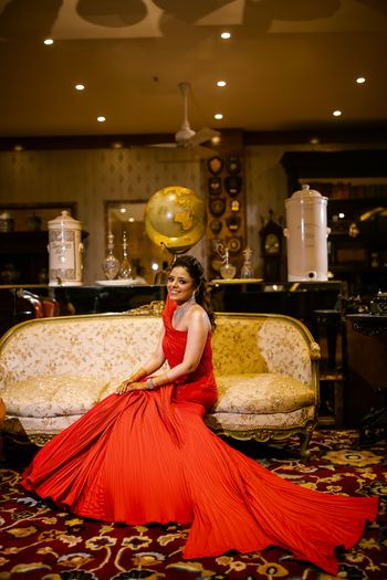 Red gown for a sangeet