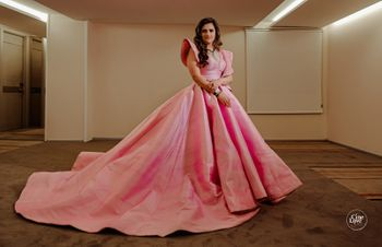 floor length light pink gown with train