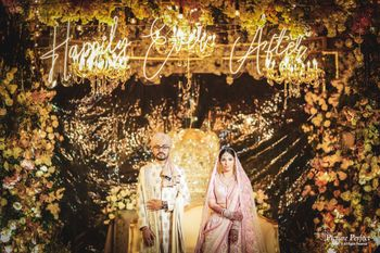 Photo of editorial style shot with unique floral mandap