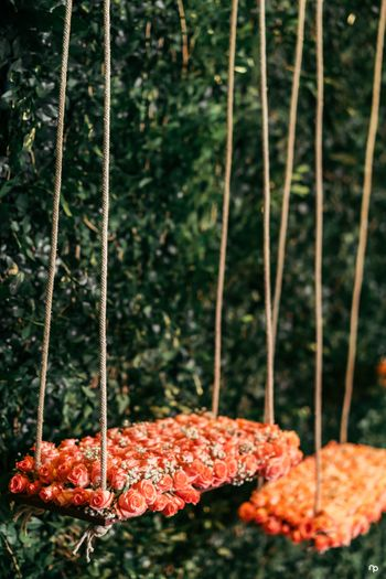 Floral decor idea with swing for engagement