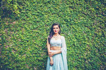 Photo of Engagement bridal Portrait with mint lehenga