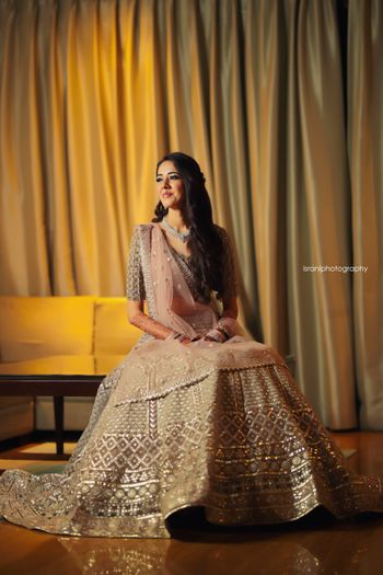 Photo of Silver and blush pink sangeet lehenga