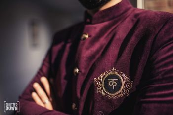 Personalised velvet sherwani for groom