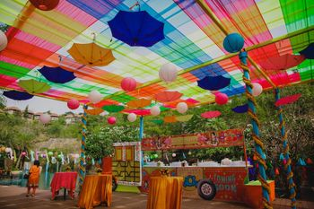 Photo of Mehendi decor colourful with parasols